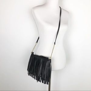 Handbags - Fringed Black Faux Leather Crossbody Bag.